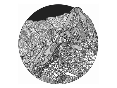 Machu Picchu pattern zentangle travel illustration machu picchu