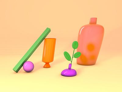 Crooked Vases orange c4d 3d artist vases 3d illustration 3d artwork cinema4dart 3d modeling cinema4d 3d art 3d