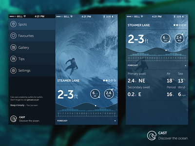 Cast Screens surf report app ios7 museo sans rounded wave blue