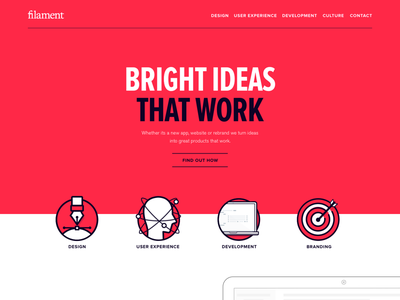 Early homepage concepts branding ux ui design web filament red landing homepage