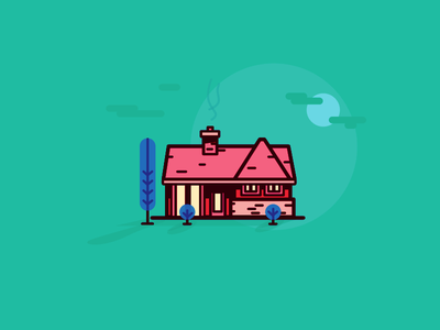 House dusk illustration flat house
