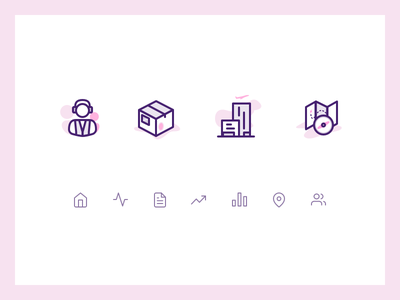 Icons aviation dashboard purple pink icons