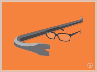 Half Life poster (WIP) half life poster orange glasses gordon freeman crowbar game