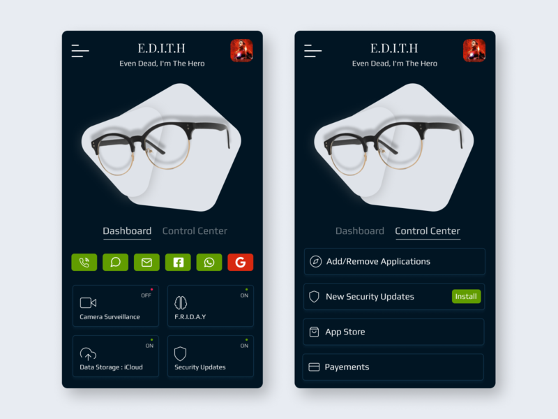 EDITH Smart glasses branding animation profile vector app ui illustration design ux dribbble best shot