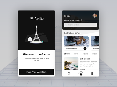 Holiday Vacation - Dark Mode webdesign flight booking destinations places planner dark tourism hotels holiday tour cards profile app ui design ux dribbble best shot