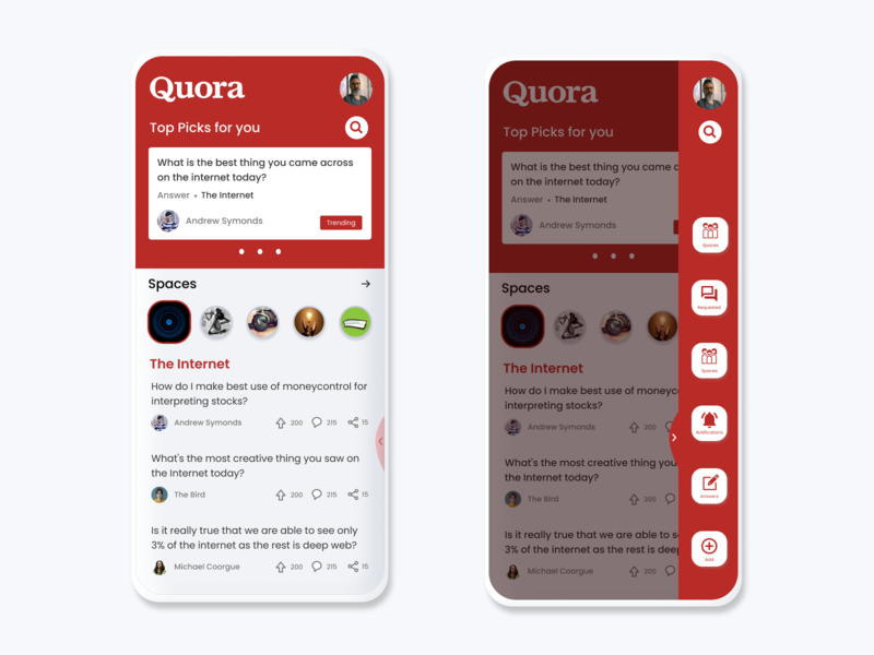 Quora App Redesign concept web cards animation branding ui app quora illustration ux design dribbble best shot
