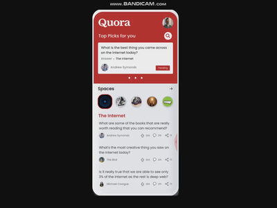 Quora Mobile App Concept cards logo profile app quora animation vector ui ux illustration dribbble best shot