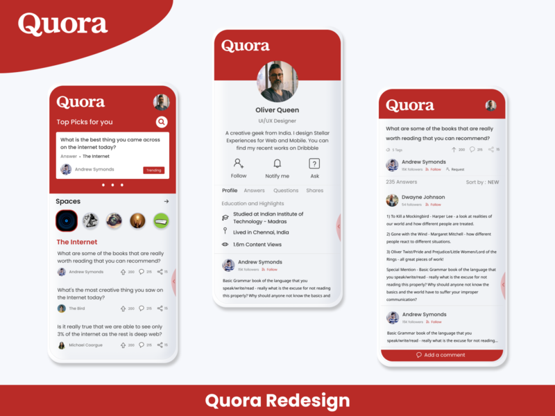 Quora redesign concept red dailyui dribbble digital retro redesign quora redesign quora animation ux ui design illustration dribbble best shot