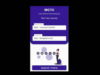 IRCTC Booking Application website branding booking cards profile app ui illustration ux design dribbble best shot