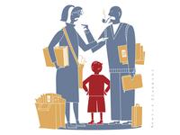 Child welfare and bureaucracy / editorial illustration
