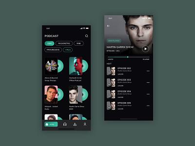 Music Podcast iOS Application genre uidesign dark theme ui aesthetic tones uiux musiuc player minimalist singer artist music musician podcasts ios app design ios