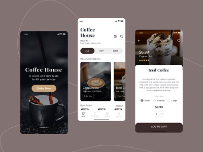 Coffee House splash light theme flat 2.0 flat design minimalist cold coffee hot coffee uxui uidesign cappuccino ice coffee cooking coffee