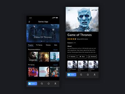 Web Series Application uiux designer dark theme productdesign ios application mobile flatdesign minimalism web series series movies uiuxdesign