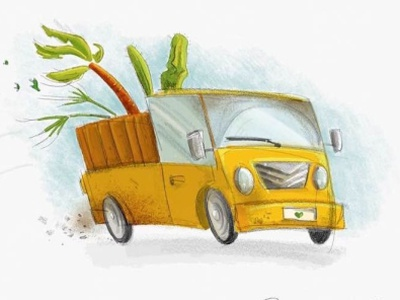 Plant Delivery ipadpro ipad pro sketch drawing illustration palm palm tree yellow delivery truck delivery truck plants