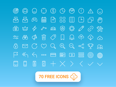 70 Free All Purpose Line Icons web website iconography ui ai downloadable icons icon pack free freebie icon