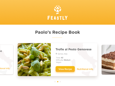Feastly Recipe Cards cuisine eat recipe startup app ui ux product feastly meal food card