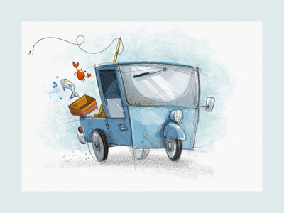 Vehicle Doodle sketching sketches fishing ipad pro art illustration ipadproart ipadpro vehicle car