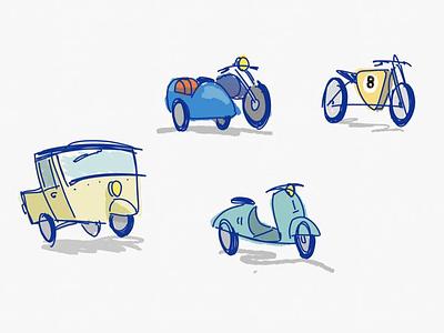 Badly Drawn Bikes 🛵🏍 ipadproart ipadpro illustration motorcycles motorbike bike motorcyle doodle