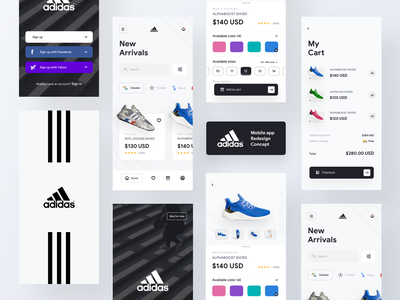Adidas mobile app concept delivery app ios app available adidas mobile app favorites product design sign up sign in app design ecommerce app fashion app bag cart add to cart checkout concept app mobile app adidas