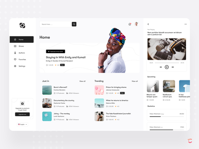 Podcast web app design concept podcast video watching upcoming trending premium shows playing statistics web design mobile app authors settings search web app featured minimal color ui vintage
