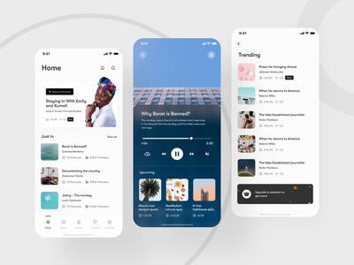 Podcast web app design - Mobile responsive app design ux mobile ui web app vintage shows feature picture in picture subscription authors followers video player trending responsive design mobile app upcoming podcast premium