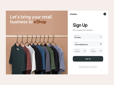 Shopapp onboarding dashboard design minimal ui app design forget password user retail business web app web design clean dashboard email address password create an account eshop log out register get started log in sign up sign in