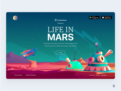 Life in Mars by Creative toast exploration minimal color typography ux space travel vector web privacy policy planets website design landing page design web design explore interaction design spaceship space mars illustration