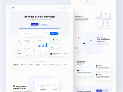 IP Banking landing page full view buy mobile banking app design features customer feedbacks web design transaction integration pricing how it works sign up sign in get started watch video bank banking dashboard banking website ecommerce landing page minimal web design ux