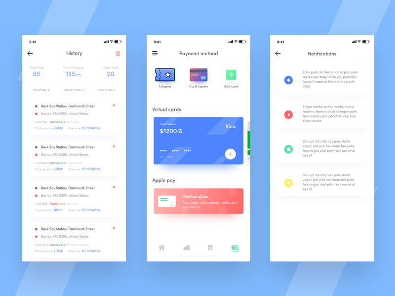 Train Subway App Exploration ver.2 apple pay virtual card page notification history mobile app app ios app design color sketch minimal exploration subway app ios app app design ux ui notifications payment method history page