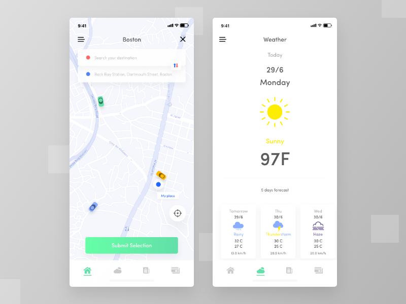 Subway app exploration forecast temperature days app design loaction city weather app ui car pooling app subway app train app ride sharing app ride app ios app app