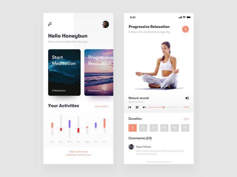 Meditation App exploration daily activities exercise app minimal app concept app sound meditation song comments duration activities exercise meditation app app ui app  design app