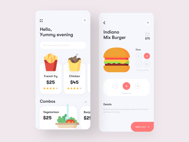 Food App exploration typography minimal ux ui restaurant app combos sizes chicken snacks burger add to cart food shop delivery app recipe app app design food app food
