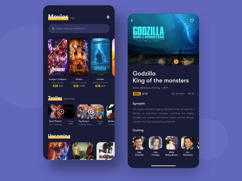 Movie App - Dark Version dark theme trendy theatre app typography cinema app ticket booking movie ticket ticket app movie app color ios app concept ux app minimal ui mobile