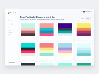 Color Hunt Dashboard - Grid view