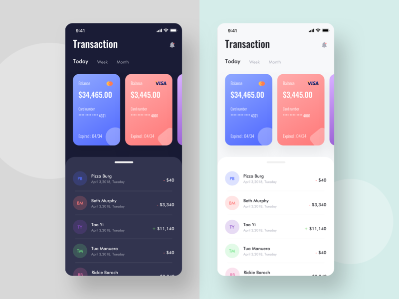 Wallet App exploration ( Light & dark screen) single page expenses money app concept concept app mastercard visa card ecard ewallet wallet app transaction color design ios app app design ux app exploration minimal ui