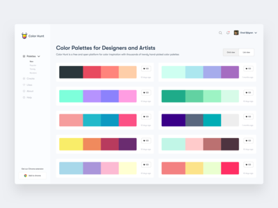 Color Hunt Dashboard - List view