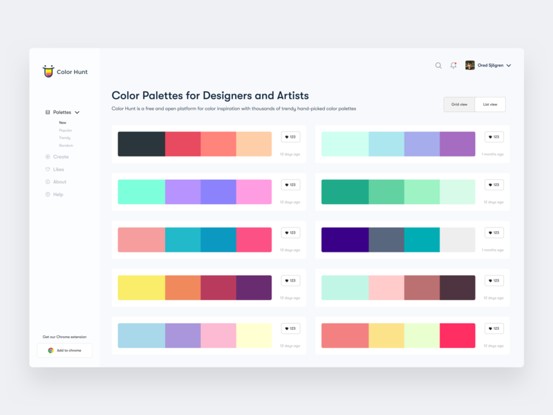 Color Hunt Dashboard - List view dashboard ios app dashboard design web design color minimal dashboard design colorhunt colorhunt dashboard trendy dashboard ui design concept dashboard design product design sketch color palette website ux app exploration minimal ui