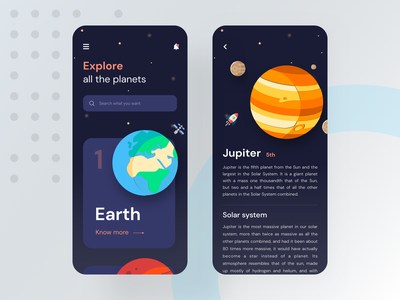 Know outside of the world minimal app design search moon space app rocket satellite galaxy planets solar system explore jupiter mars earth space color concept illustration ux app
