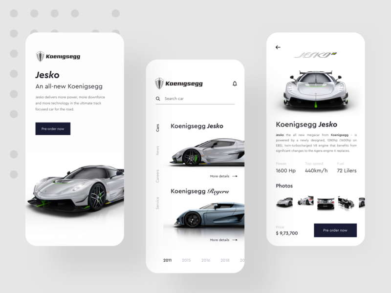 Koenigsegg App Design Concept details support online car car app new search orders pre order car power speed jesko regera koenigsegg design concept app minimal app app design ux minimal