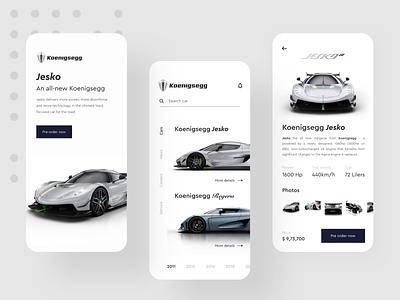 Koenigsegg App Design Concept details support online car car app new search orders pre order car power speed jesko regera koenigsegg design concept app minimal app app design ux minimal