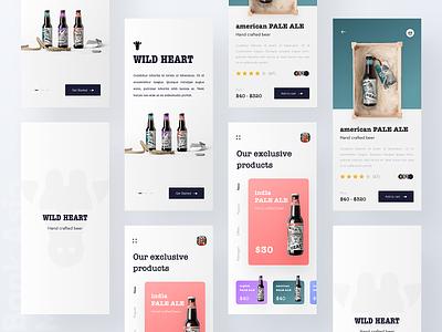 Beer shop online platform UI platform online design minimal app concept app web design typography ios app exclusive ecommerce app color price app design ux product design beer wild heart