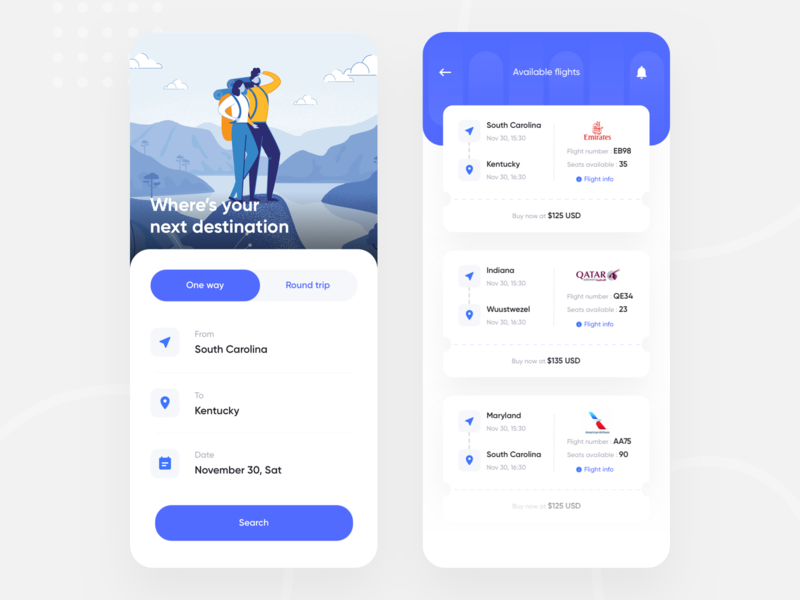 Flight app UI concept app website airplane flight booking clean minimal ios app boarding pass mobile seat app design trending ticket app flight app search round trip one way travel booking airport