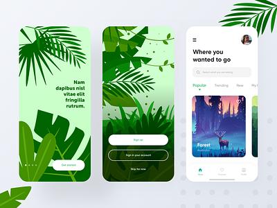 Travel app design vector illustration exploration onboarding sign up sign in concept app tour holiday trip travel app mobile design cards booking app ios app app design minimal