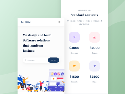 SAAS Agency Landing Page - Mobile responsive design V2 concept app ui app design mobile responsive ios app mobile friendly web app mobile design responsive design web design modern minimal services responsive web design typography software company digital agency design agency