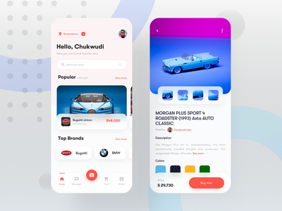 Car buy and sell app screens minimal ecommerce app brands camera messages cart price search color description location popular buy now product design mobile buy and sell car sell app car buy app car app