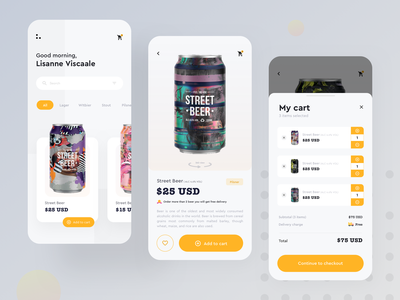 Online Beer shop 360 view menu style guide filters ecommerce app online shop design add to bag beer discount favorite checkout delivery app add to cart ios app design modern app design app design product design mobile
