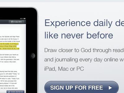 Marketing Page ipad sproutcore devotions bible
