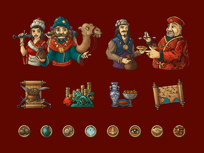 Silk road gamification illustration website