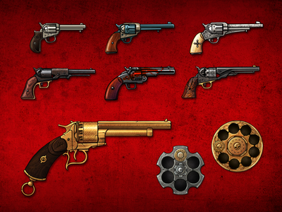 Revolvers from the game Blood will be Spilled