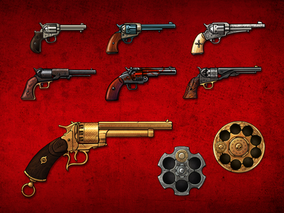 Revolvers from the game Blood will be Spilled game art user interface illustration
